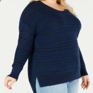 Style&Co 3X Ribbed Knit Sweater Navy Blue NEW NWT